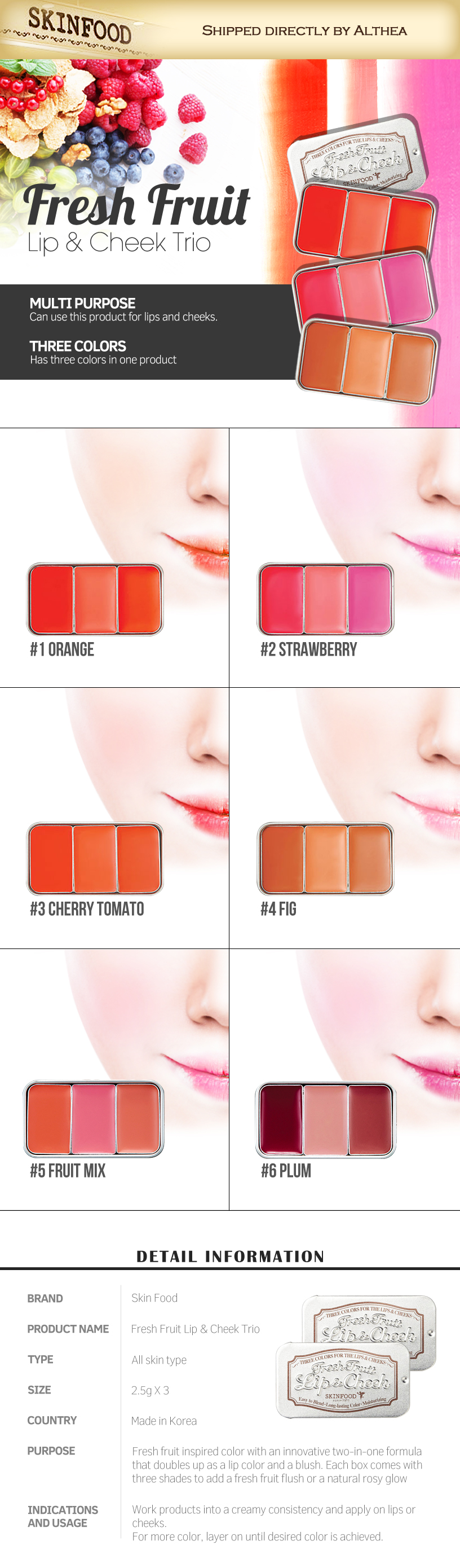 Skinfood fresh fruit lip   cheek trio 01