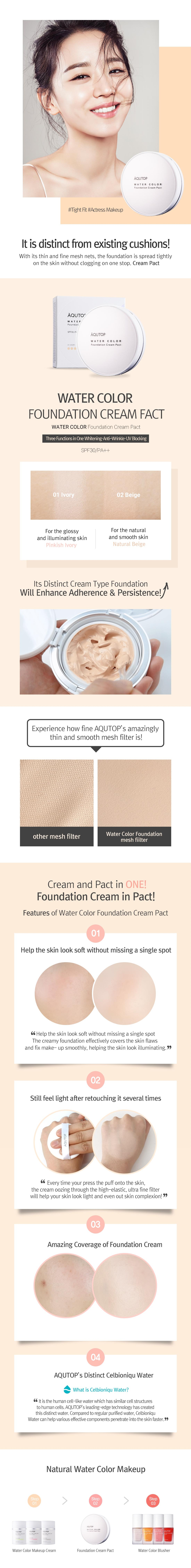 buy aqutop water color foundation cream pact spf 30 pa online at