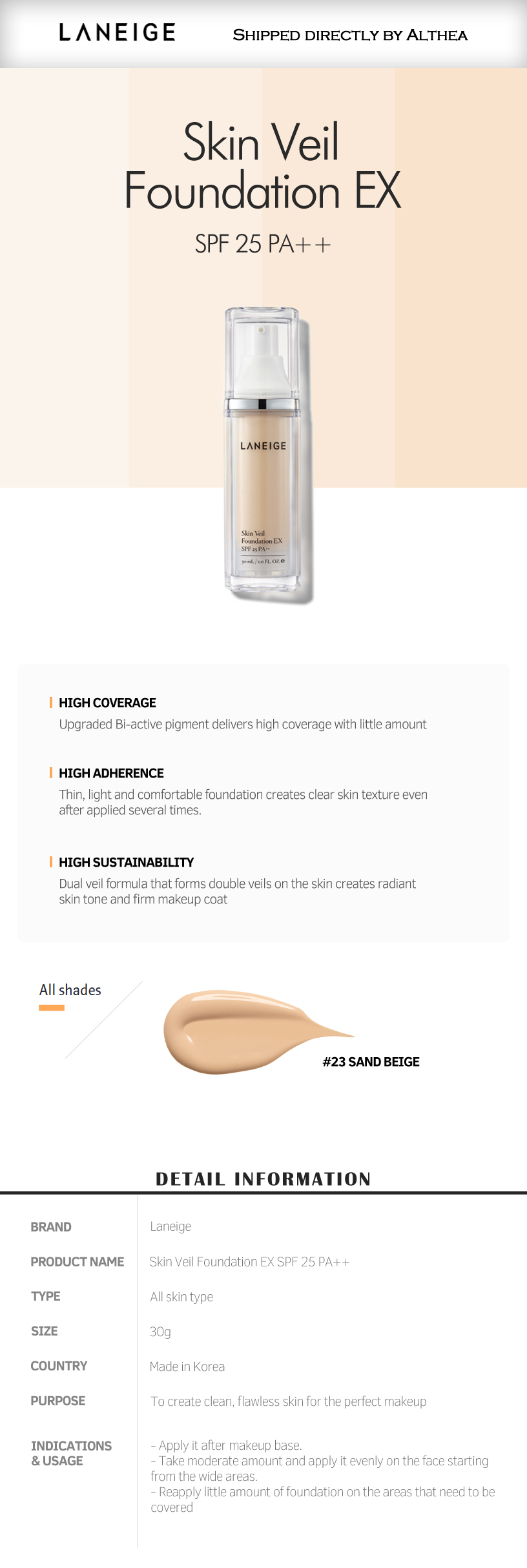 buy laneige skin veil foundation ex 23 online at althea singapore